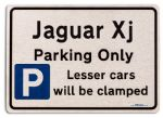 Jaguar Xj Car Owners Gift| New Parking only Sign | Metal face Brushed Aluminium Jaguar Xj Model